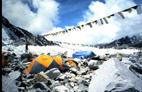Prayer flags at Mt. Everest base camp.